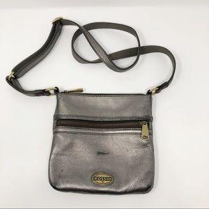 Fossil Leather Metallic Crossbody Purse Bag